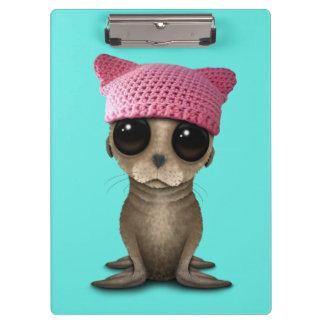 Cute Baby Sea Lion Wearing Pussy Hat Clipboard