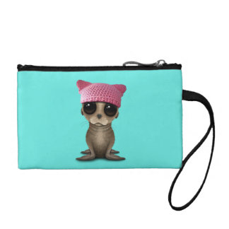 Cute Baby Sea Lion Wearing Pussy Hat Coin Purse