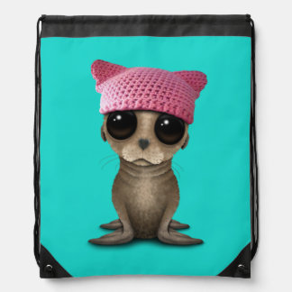 Cute Baby Sea Lion Wearing Pussy Hat Drawstring Bag