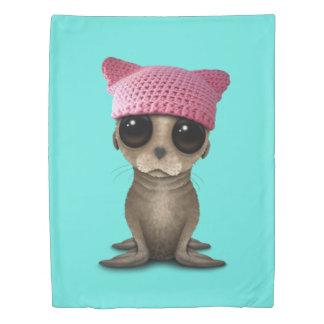 Cute Baby Sea Lion Wearing Pussy Hat Duvet Cover