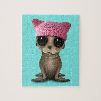 Cute Baby Sea Lion Wearing Pussy Hat Jigsaw Puzzle