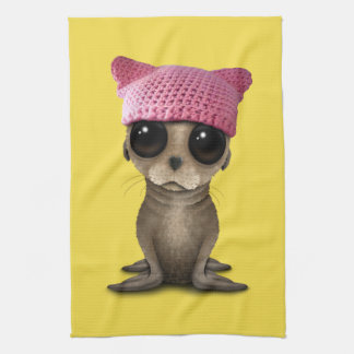 Cute Baby Sea Lion Wearing Pussy Hat Kitchen Towel