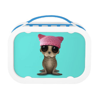 Cute Baby Sea Lion Wearing Pussy Hat Lunch Box
