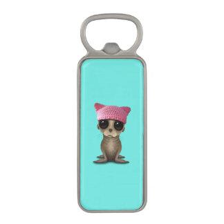 Cute Baby Sea Lion Wearing Pussy Hat Magnetic Bottle Opener