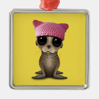 Cute Baby Sea Lion Wearing Pussy Hat Metal Ornament