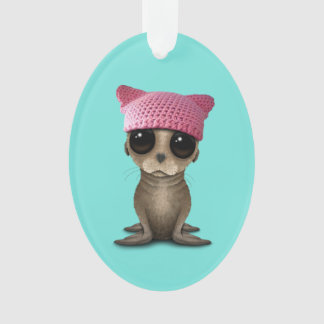 Cute Baby Sea Lion Wearing Pussy Hat Ornament