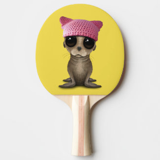 Cute Baby Sea Lion Wearing Pussy Hat Ping Pong Paddle