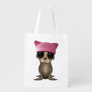 Cute Baby Sea Lion Wearing Pussy Hat Reusable Grocery Bag
