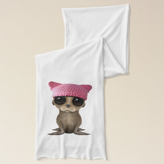 Cute Baby Sea Lion Wearing Pussy Hat Scarf
