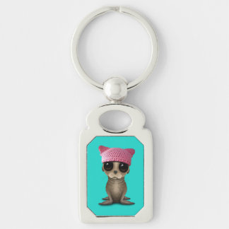 Cute Baby Sea Lion Wearing Pussy Hat Silver-Colored Rectangle Keychain