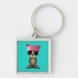 Cute Baby Sea Lion Wearing Pussy Hat Silver-Colored Square Keychain