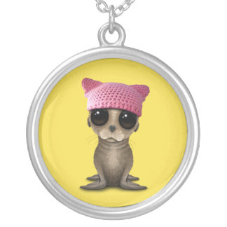 Cute Baby Sea Lion Wearing Pussy Hat Silver Plated Necklace