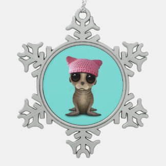 Cute Baby Sea Lion Wearing Pussy Hat Snowflake Pewter Christmas Ornament