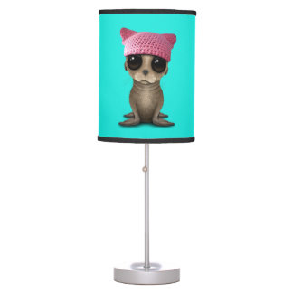 Cute Baby Sea Lion Wearing Pussy Hat Table Lamp