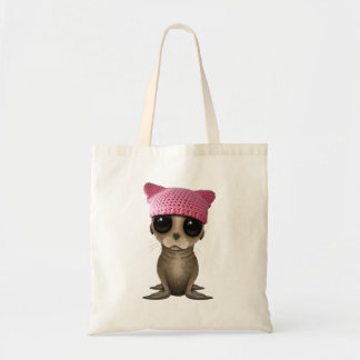 Cute Baby Sea Lion Wearing Pussy Hat Tote Bag