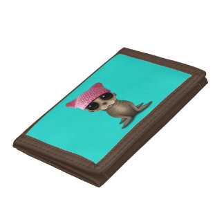 Cute Baby Sea Lion Wearing Pussy Hat Trifold Wallet