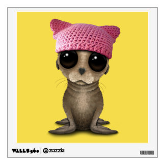Cute Baby Sea Lion Wearing Pussy Hat Wall Decal
