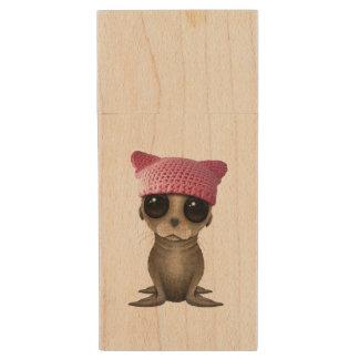 Cute Baby Sea Lion Wearing Pussy Hat Wood USB Flash Drive