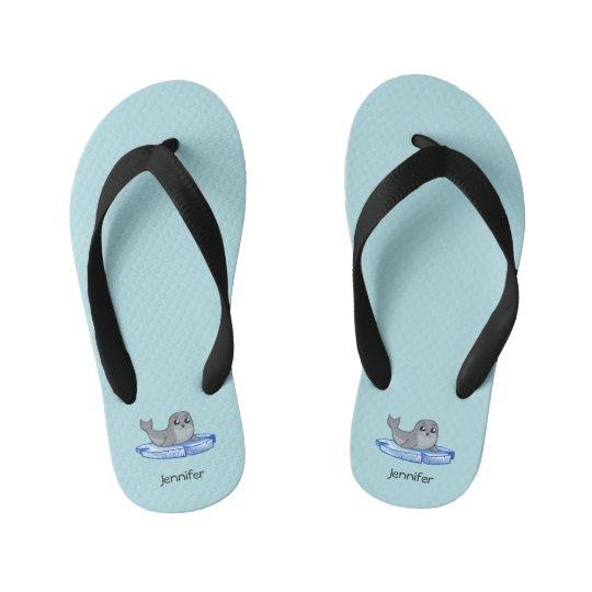 Cute baby seal cartoon cartoon name kids slippers kid's flip flops