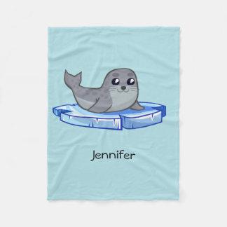 Cute baby seal cartoon fleece blanket