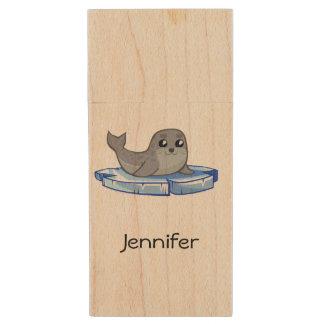 Cute baby seal cartoon kids wood USB 2.0 flash drive