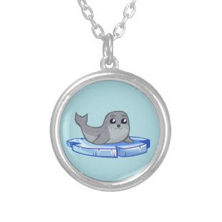 Cute baby seal cartoon silver plated necklace