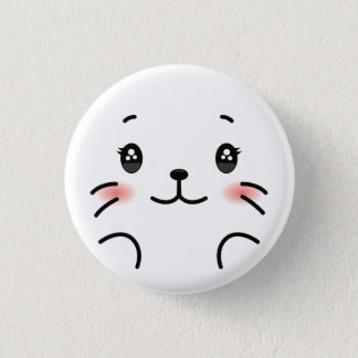Cute baby seal head. 1 inch round button