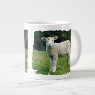 Cute Baby Sheep Muddy Face in Meadow Large Coffee Mug
