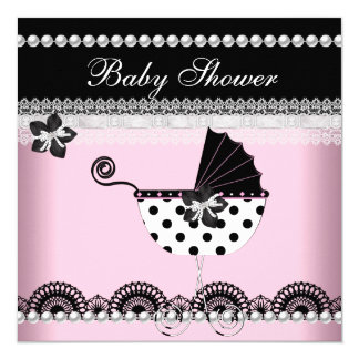 """Cute Baby Shower Baby Girl Pink Black Pearl 5.25"""" Square Invitation Card"""