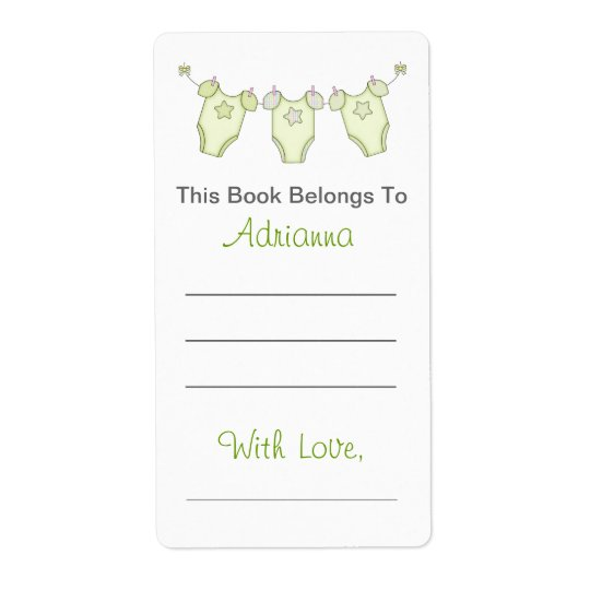 Cute Baby Shower Bookplate - Green Clothesline Shipping Label
