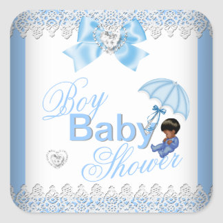 Cute Baby Shower Boy Blue White African American Square Sticker