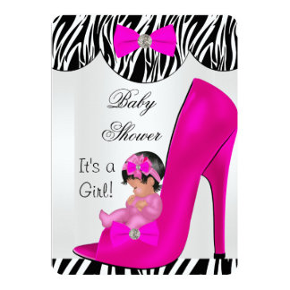 Cute Baby Shower Girl Hot Pink Baby in Shoe Invitations