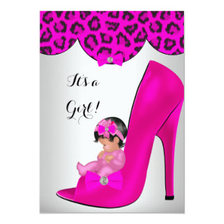 "Cute Baby Shower Girl Hot Pink Baby Shoe 4 5"" X 7"" Invitation Card"