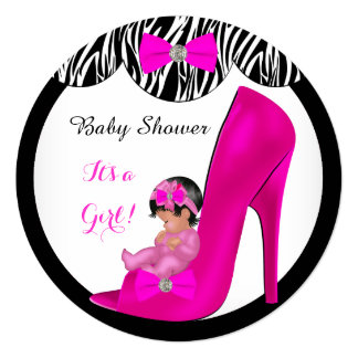 "Cute Baby Shower Girl Hot Pink Baby Shoe R2 5.25"" Square Invitation Card"