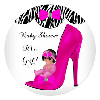 Cute Baby Shower Girl Hot Pink Baby Shoe R 5.25x5.25 Square Paper Invitation Card