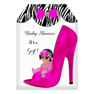 Cute Baby Shower Girl Hot Pink Baby Shoe T 5x7 Paper Invitation Card