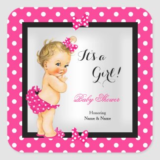 Cute Baby Shower Girl Hot Pink Black Blonde Square Sticker