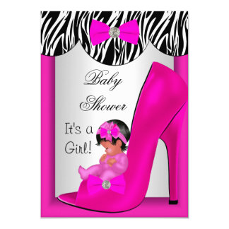 "Cute Baby Shower Girl Hot Pink Ethnic Baby Shoe 2E 5"" X 7"" Invitation Card"