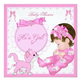 Cute Baby Shower Girl Kitten Pink White Card