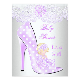 Cute Baby Shower Girl Lilac Blonde Baby Shoe Lace Custom Announcements