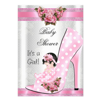 Cute Baby Shower Girl Pink Baby Shoe Pink Roses 2 Card