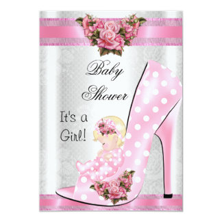 Cute Baby Shower Girl Pink Baby Shoe Pink Roses Card