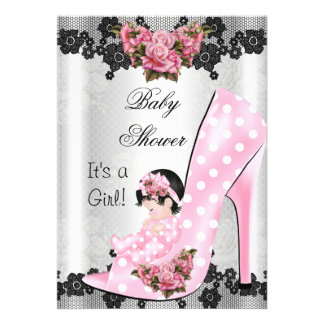 Cute Baby Shower Girl Pink Baby Shoe Rose Lace 2 Cards