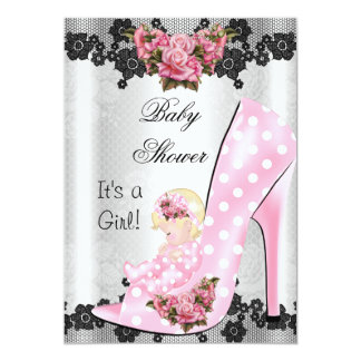Cute Baby Shower Girl Pink Baby Shoe Rose Lace 3 Cards