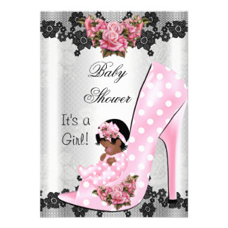 Cute Baby Shower Girl Pink Baby Shoe Rose Lace Card