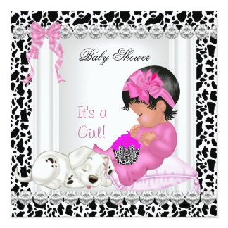 """Cute Baby Shower Girl Pink cupcake Cow 5.25"""" Square Invitation Card"""