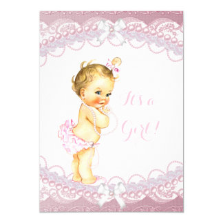 Cute Baby Shower Girl Pink Pearls Lace Blonde Card