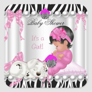 Cute Baby Shower Girl Pink Zebra cupcake Square Sticker