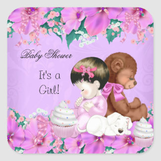 Cute Baby Shower Girl  Puppy Square Sticker