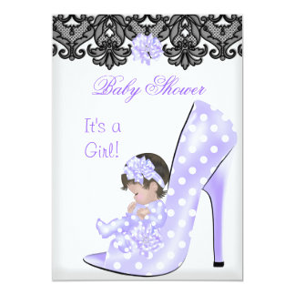 Cute Baby Shower Girl Purple Baby Shoe Lace 5x7 Paper Invitation Card